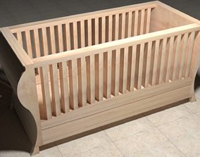 Wooden Cradle 3D wooden