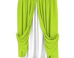 Double layered curtains 3D model