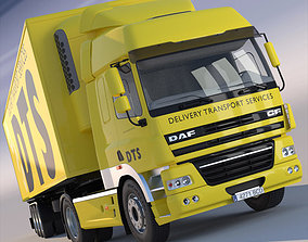 DAF CF Cab with refrigerated semitruck 3D