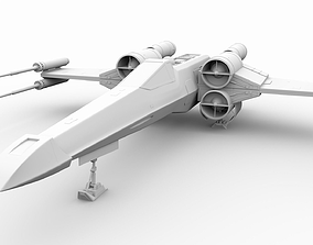 3D model animated X-wing Starfighter