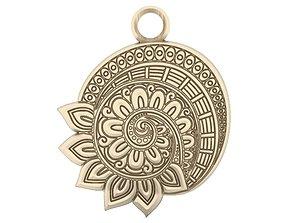 3D printable model Mandala flower pendant 1