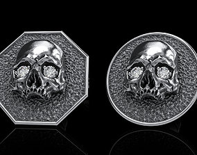 3D skull earrings studs 2 character