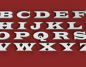 WIDE LATIN font uppercase and lowercase 3D Letters STL 1