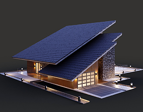 3D model House with a two-level shed roof