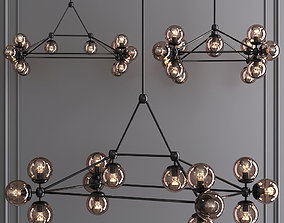 Modo Rectangle Chandelier 14 Globes Black and Smoke 3D