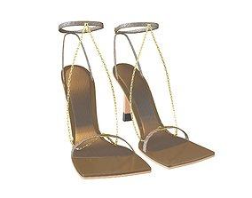 3D asset Square Toe Leather Sandals v2 004