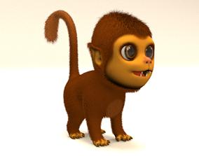 3D model animated cartoon monkey