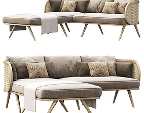 Victoria wooden rattan sofa FD50 with chaise 3D model 1