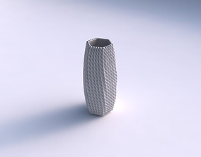 3D print model Vase hexagon with bent extruded pattern