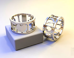 ring with heart and inscription LOVE 3D print model