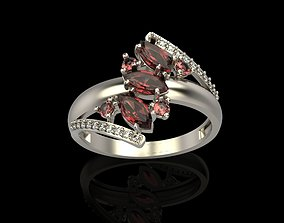 3D print model Ring with gems and diamonds