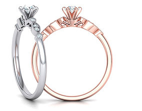 Milgrain Delicate Six-Prong Engagement ring 3dmodel