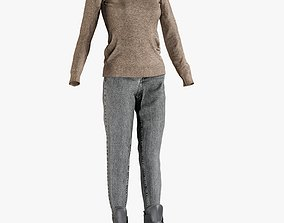 Womens Jeans with Pullover Boots 3 3D model