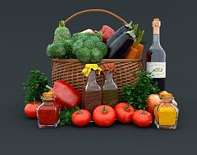 Vegetables basket Food and drinks 3D