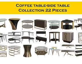 3D model Coffee table-side table Collection 22 Pieces