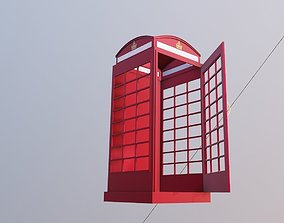 game-ready phone booth 3d model