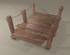 3D model Wooden Straight Modular Dock 2 Piece Set