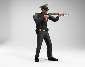 3D asset polieman gun in hand ready to shoot low 2