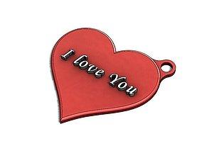 I love You keychain heart shape custom 3D print model 1