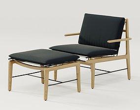 DWR Finn lounge chair and Finn ottoman 3D