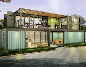 3D model Container Cafe and Office
