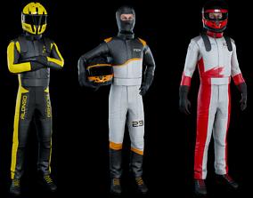 Sports car driver 3D model rigged