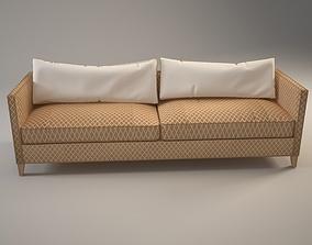 3D model Gray Velvet Sofa