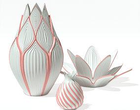 Set Vases and Bowl for fruit 3D model