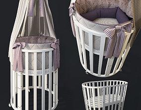 Round bed Folding cradle 3D model