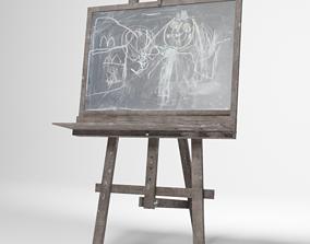 Kids easel with blackboard 3D