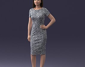 3D Scan of a posed girl in a dress 0328-2 3D print model