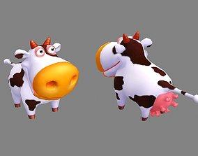 3D model realtime Cartoon cow farm