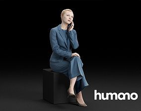 3D Humano Elegant Business Woman Sitting talking on the 1