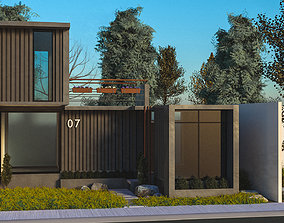 Container Home 3D model exterior