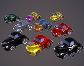 3D model low-poly Cartoon Hot Rod Coupe PBR