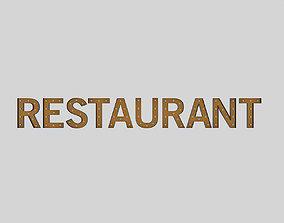 Restaurant Sign With Bulb 3D model