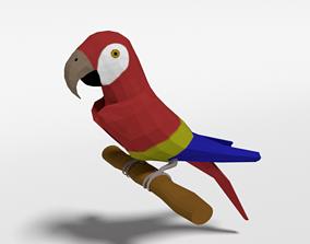 Low Poly Cartoon Macaw Parrot 3D asset