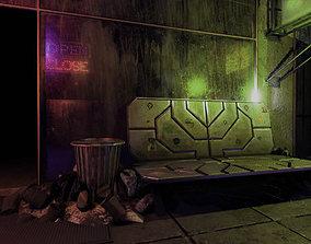 3D asset Cyberpunk bench