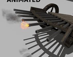 3D model animated Machine Gun by Leonardo Da Vinci