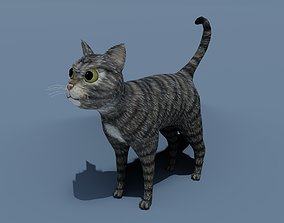 Cartoon Cat Brown Grey Striped 3D Model realtime