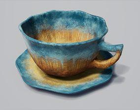Teacup and Sacuer Blue Glazed 3D model