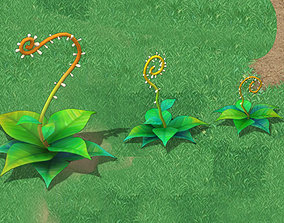 Cartoon version - moving tentacles grass 3D model
