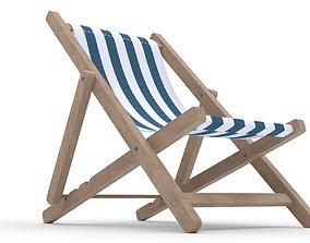 3D Beach chair Deck chair low poly blue