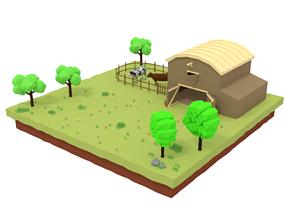Low Poly Farm Barn Scene 3D asset