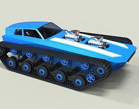Muscle car on tracks 3D model