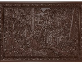 3D print model Morning in a Pine Forest bas relief Bears