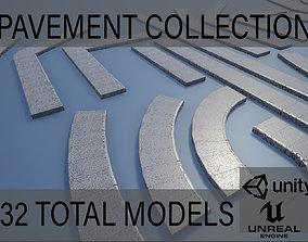 3D asset Lowpoly Modular PBR Pavements