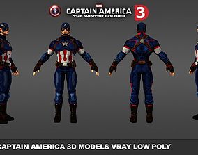 game-ready Captain America 3D models low poly 2017
