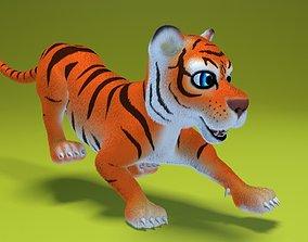 3D asset cartoon tiger