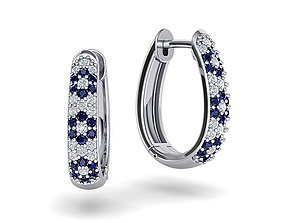 sapphire-earring Diamond Hoop earrings 3dmodel